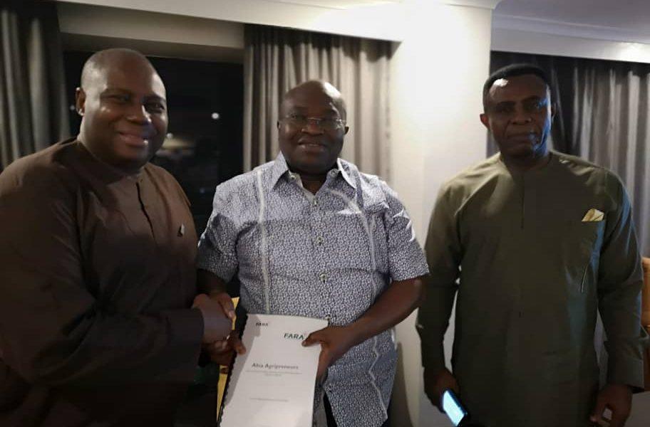 L-R: Dr. Yemi Akinbamijo; Executive Director, FARA, Dr. Okezie Ikpeazu; Executive Governor, Abia State and Mr. Endi Ezengwa; Coordinator, Education for Employment